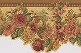 grape border wallpaper - Pink Roses Yellow Floral Wallpaper Border Retro Design, Roll 15' x 5''