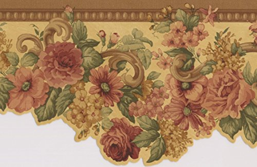 (Pink Roses Yellow Floral Wallpaper Border Retro Design, Roll 15' x 5'')
