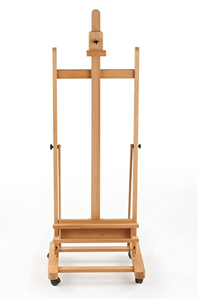 Wooden Studio Easel with Wheels, H Frame, Adjustable Holders for Canvases  up to 60