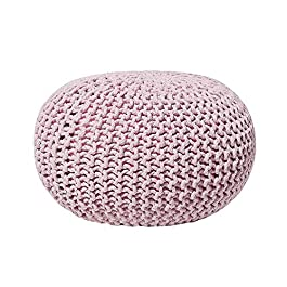 AZK Ottoman Poufs for Living Room – Hand Knitted Cable Style Dori Pouf – Floor Ottoman – 100% Cotton Braid Cord – Handmade & Hand Stitched – Truly one of a Kind Seating 18 x 18 x 13