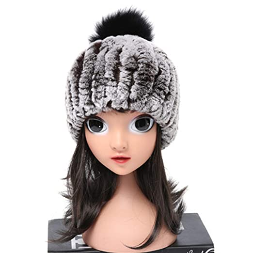 ClimbUp Kids Warm Rex Rabbit Fur Hats Knitted with Fox Fur Pompom Beanies  for Winter Brown 680c0ca8abb