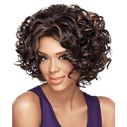 Search : Alan Hair Fashion Dark Brown Color Short Wavy Curly Wigs, High-Temperature Synthetic Fiber Wig for African American Women