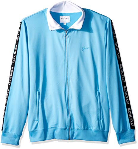 Guess Mens Jacket - GUESS Men's Long Sleeve Keith MCM Taped Jacket, Baja Blue, S