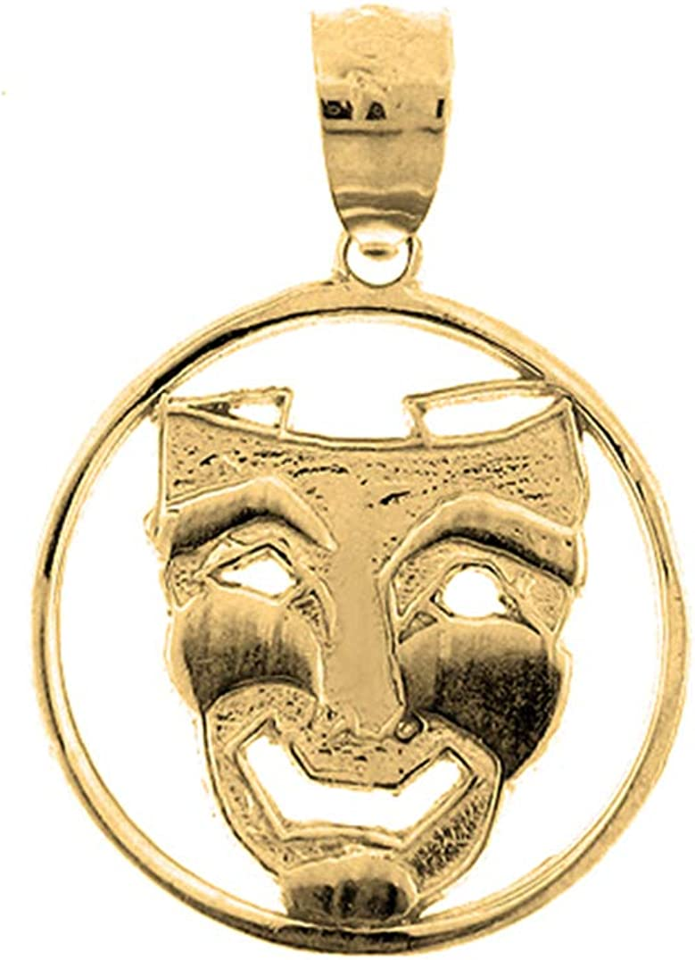 Laugh Now Pendant Jewels Obsession Silver Drama Mask 14K Yellow Gold-plated 925 Silver Drama Mask Laugh Now Pendant