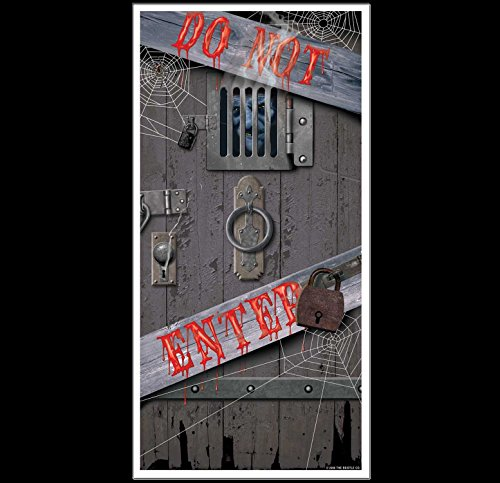 HORROR-HALL Spooky Halloween Dungeon Door Cover-DO NOT Enter Party Prop Building Decoration