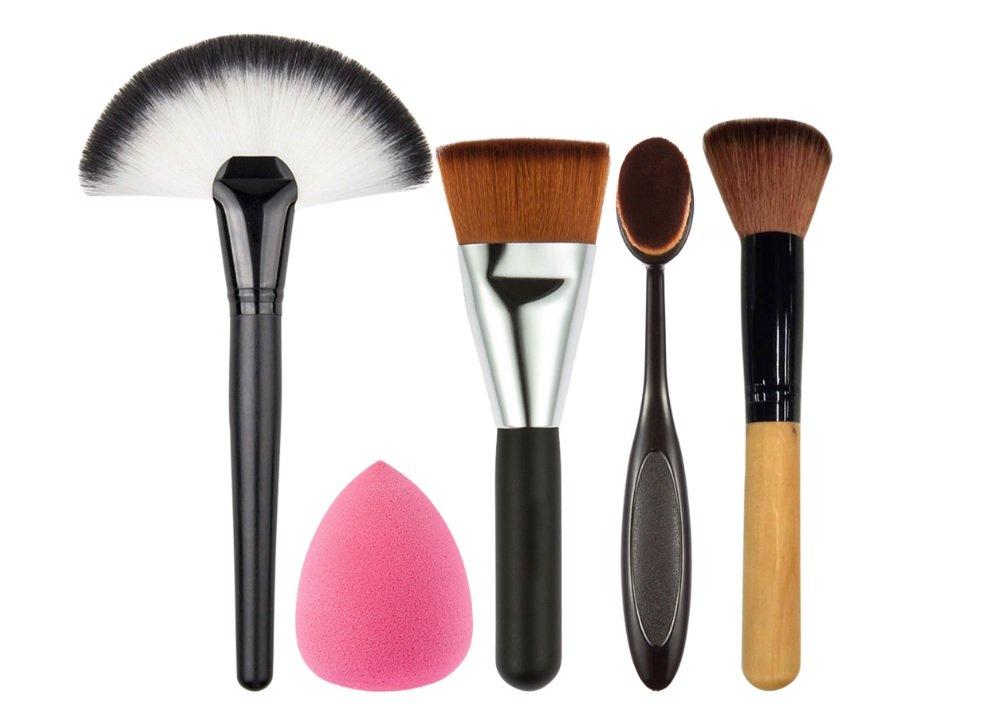 5 PCS Set Makeup Powder Blush Foundation Brush Sponge Puff Large Fan Contour Brush Make Up Brushes Tool Cosmetics Kits mikah617 mi-034