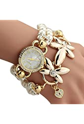 Baishitop Imitation Pearls Flower Band Ladies Watches, Womens Luxury watches(White)