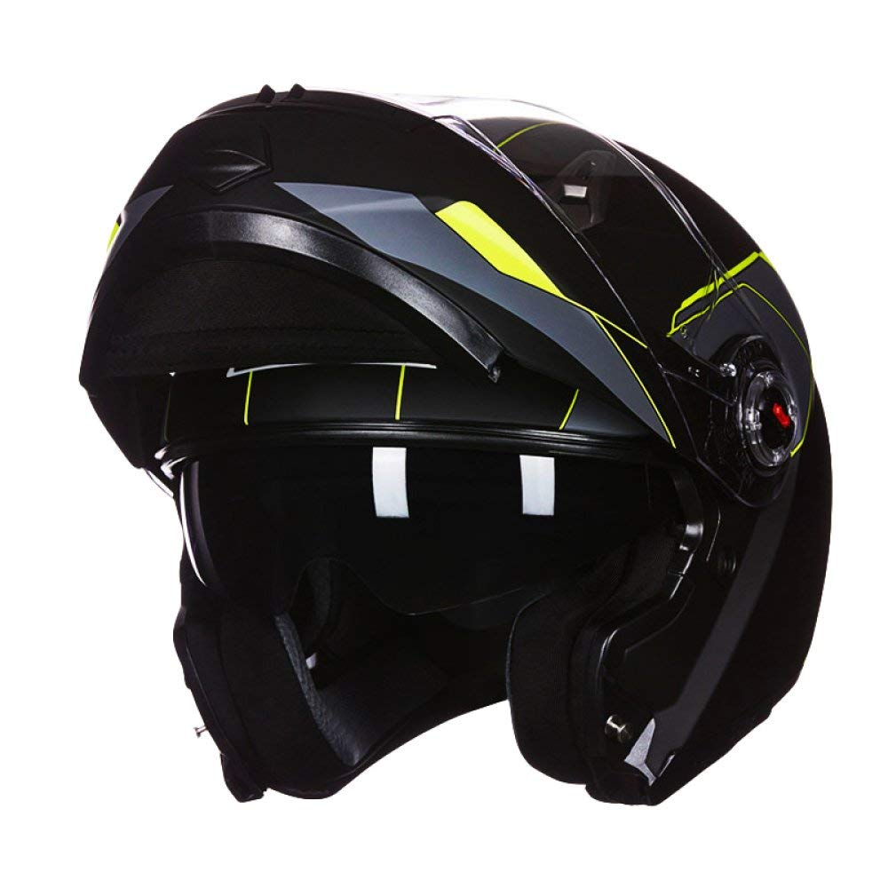 サイクリング自転車用ヘルメット ヘルメットオートバイヘルメットダブルレンズオープンフェイスヘルメット男性と女性夏防曇フルヘルメットカバーハーフ機関車四季ユニバーサル スポーツ用保護ヘルメット (色 : Black, サイズ : X-Large) B07MSFY8R6 Black X-Large