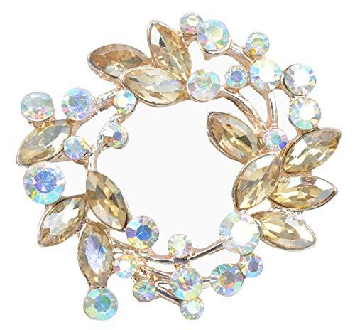 Brooch Floral Design - Gyn&Joy Champagne Crystal Rhinestone Floral Wreath Brooch Pin BZ005CH
