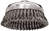 Weiler Wire Cup Brush, Threaded Hole, Steel, Partial Twist Knotted, Single Row, 6'' Diameter, 0.023'' Wire Diameter, 5/8''-11 Arbor, 1-3/8'' Bristle Length, 6600 rpm (Pack of 1)