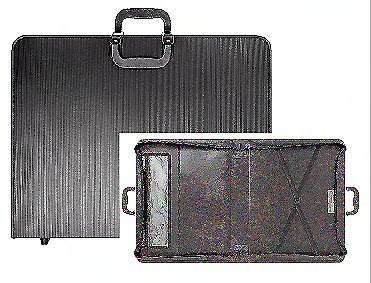 Prat Start Premium Portfolio, Ribbed Cover with Double Action Zipper, Handle for Transport, Inner Straps and Pockets, 20 X 26 X 3 inches, Black (SPR-1262)