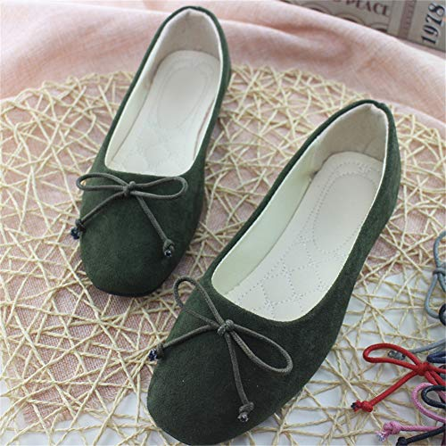 Roll Scarpe Flats up Donna Tascabile Basse Piegato Green Ballerine Army dMC1Uq