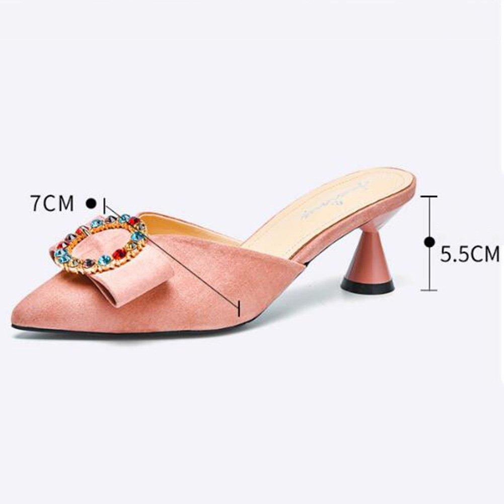 Jingsen Sandalen Damen Sommer Mid-spitze Hausschuhe Damen Root Cup Root Damen Diamond Ring Schnalle Wild Sandalen (Farbe : Pink, größe : 36) Pink a7c848