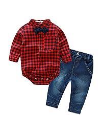 Gentleman Shirt Set Jeans Suit Boy Denim Pant Plaid Bodysuit Long Sleeve Outfits