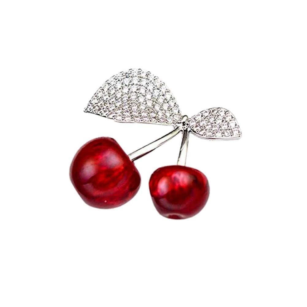 Joyci 1Piece Cherry Brooch Top-Grade Scarf Buckle Diamond Cardigan Brooch Pins Modern Type Lapel Pins (Silver)