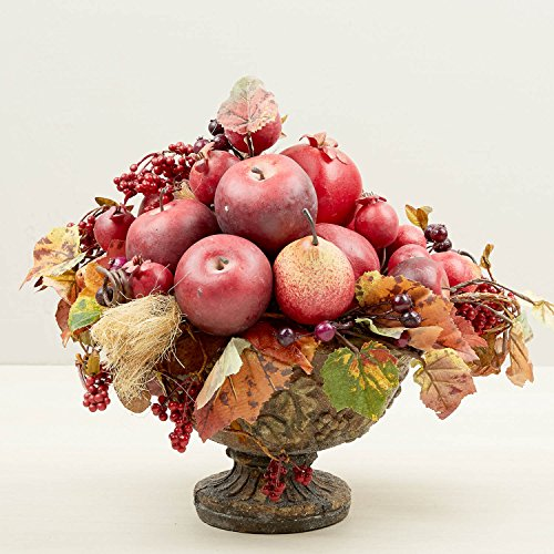 Artificial Autumn Leaf and Mixed Fruit In Tuscan Style Pedestal (Tuscan Pedestal)