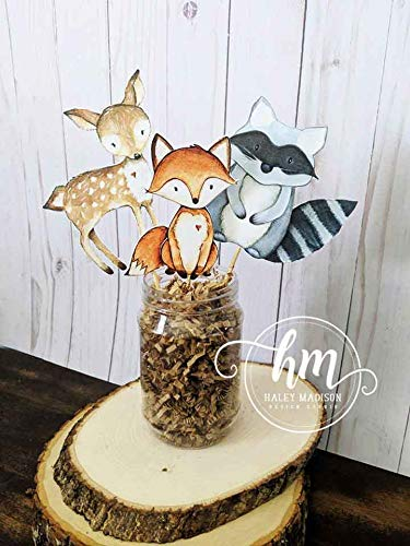 Set of 4 Woodland Center Pieces, Paper woodland animals, 4