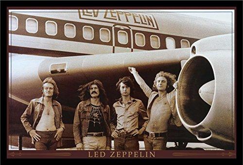 (buyartforless IF PW 48104 36x24 1.25 Black Framed Led Zeppelin The Starship Airplane 36X24 Music Art Print Poster Wall Decor Classic Image)