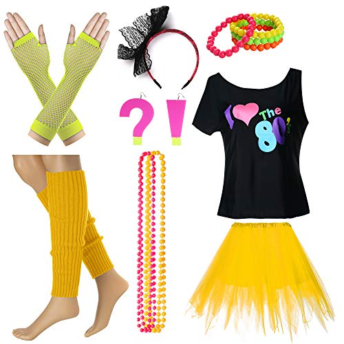 I Love The 80's T-Shirt Fancy Outfit Dress for 1980s Theme Party Supplies (S/M, Yellow) ()