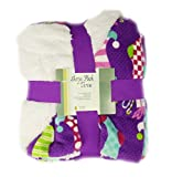 Purple Christmas Sherpa Plush Throw Blanket Stockings and Gifts