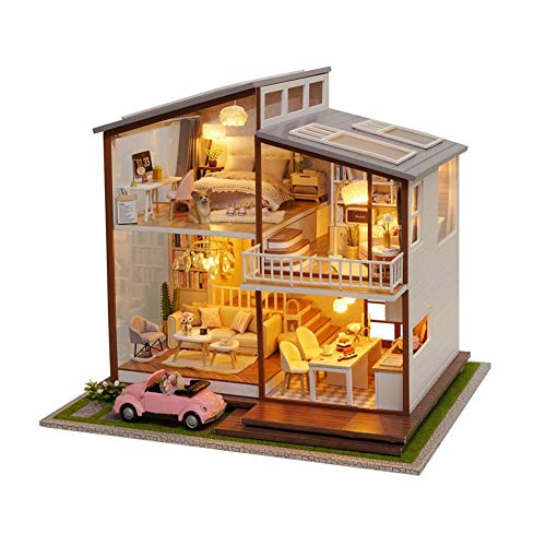 CHEJHUA -Cottage Casa Wood Toys for Children Girls Big Doll House DIY Miniature Dollhouse Large Wooden House Toys DIY (Color : A Basic Style)