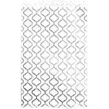 """200 pcs Shimmering Silver Trellis Pattern Paper Merchandise Gift Bags Shopping Sales Tote Bags 6""""x9"""" - Caddy Bay Collection"""