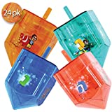 Ner Mitzvah Izzy 'n' Dizzy 24 Pack Fillable Dreidels - Large 4 x 2.5 Inch - Great for Chocolate Coins and Candy - Assorted Random Designs