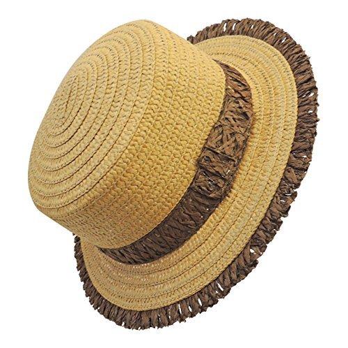 pour RAFFIA femmes soleil chapeau marron NEUF Noir 0Sw5qC