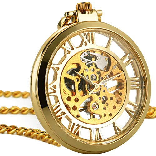 51019e606 ManChDa Mens Pocket Watch Vintage Open Face Skeleton Mechanical Hand Wind  Movement Big Size with Chain + Gift Box - Buy Online in UAE.