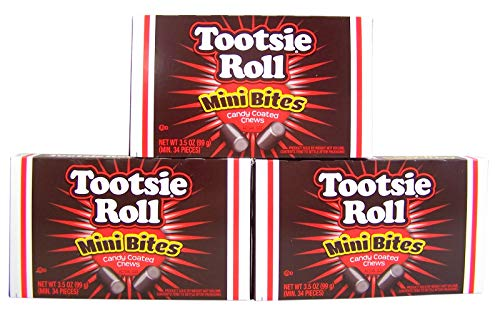 Tootsie Roll Mini Bites Candy Coated Chews Movie Theater Box, 3.5 oz (Pack of -