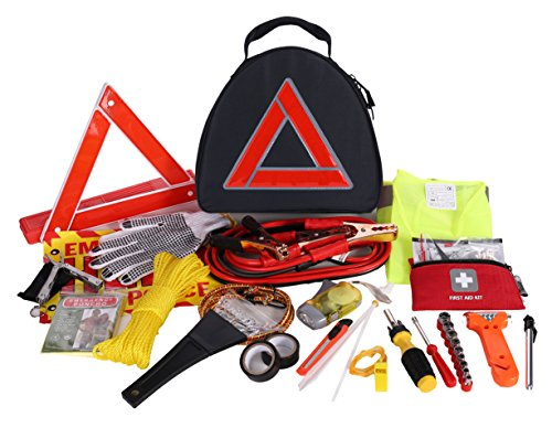 Thrive Roadside Assistance Auto Emergency Kit First Aid Kit  Triangle Bag Contains Jumper Cables Tools Reflective Safety Triangle And More Ideal Winter Accessory For Your Car Truck Camper
