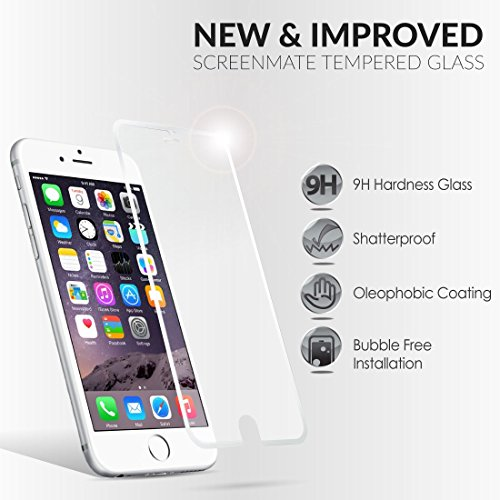 iloome Apple iPhone 6 4.7in (Arctic White) ScreenMate Real Tempered Glass 9H Hardness Premium Screen Protector with CurveProtectTM Technology, Rounded Edges and Oleophobic Coating