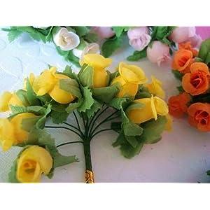 "144 Poly Silk Rose Flower 4"" Stem/leaf/trim/Wedding Bouquet/Artificial H415-Gold US Seller Ship Fast 3"