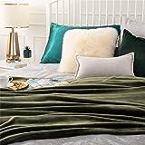 Bedsure Fleece Blankets King Size Oive Green - Bed