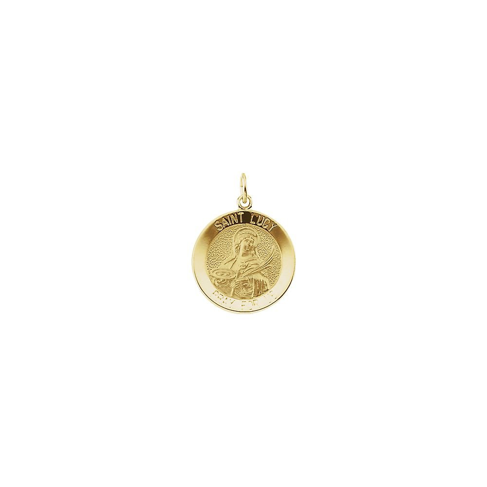 Jewels By Lux 14K Yellow Gold 14.5mm Round St Lucy Medal