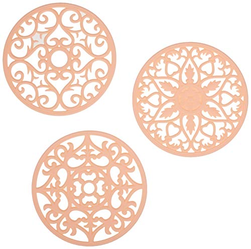 - New Peach Color | Set of 3 Silicone Trivets for hot pans | Decorative design mimics iron trivets | Flexible hot pads for hot dishes | BPA Free | Perfect for Bridal or Housewarming Gift (Peachy Pink)