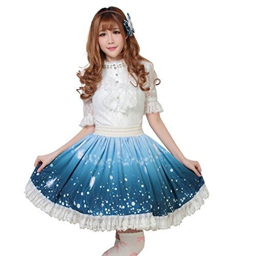Hugme Blue Polyester Lace Fairy Printed Lolita Skirt Lolita Skirt