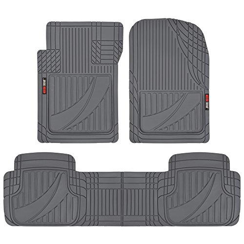 Motor Trend OF-793-GR FlexTough Advanced Performance Mats-3pc Rubber Floor Mats for Car SUV Auto All Weather Plus-2 Front & Rear Liner ()
