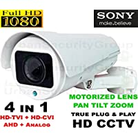 USG SONY Chipset 2MP 1080P Bullet Security Camera : HD-TVI, HD-CVI + Analog BNC Formats : MOTORIZED ZOOM 2.8-12mm HD Lens & MOTORIZED PAN : Manual Tilt : 4x IR LEDs 100ft : Business Grade
