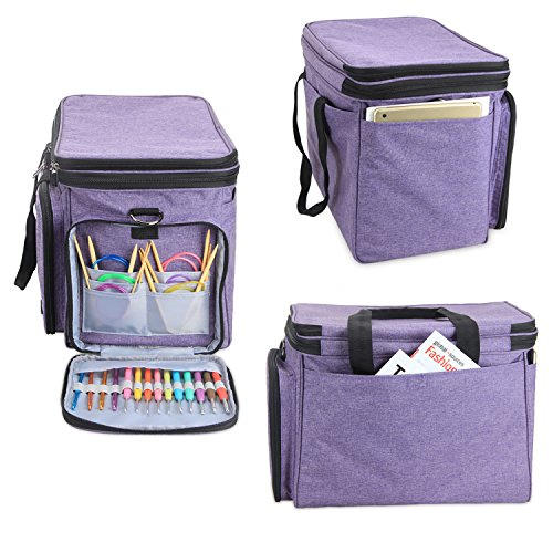 """Luxja Knitting Bag, Yarn Bag with Cover and Shoulder Strap, Yarn Tote Bag for Carrying Projects, Knitting Needles (up to 14""""), Circular Needles, Crochet Hooks and Other Accessories, Purple by LUXJA (Image #4)"""