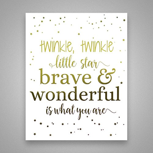 (Twinkle Twinkle Little Star - Gold Foil Art Print - Inspirational Quote Modern Wall Art - 8 inches x 10)