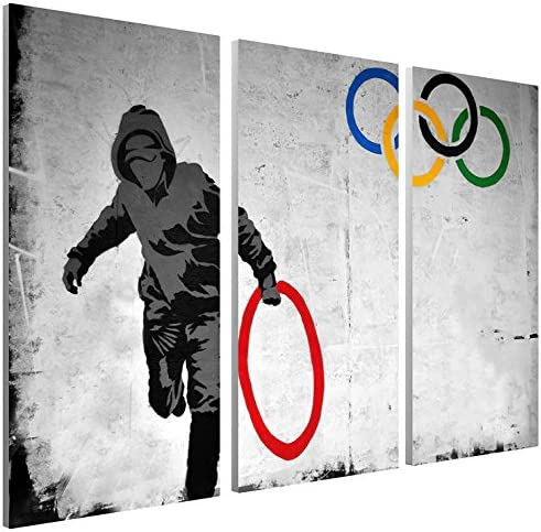 Pingo World 1220P1PCCLS Stolen Olympic Rings Gallery Wrapped Canvas Triptych Art 48″ x 30″. Bonus Free Banksy Wall Decal