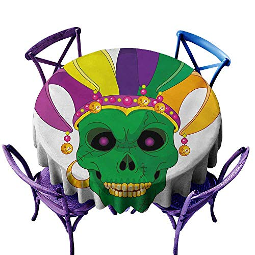 Custom Tablecloth,Mardi Gras Scary Looking Green Skull Mask with Carnival Hat Beads and Earring Cartoon Style,Table Cover for Home Restaurant,50 INCH,Multicolor