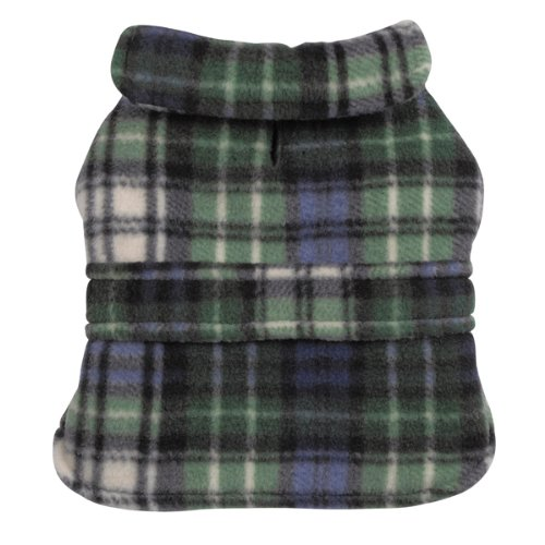 Casual Canine Polyester Plaid Fleece 8-Inch Dog Barn Coat, XX-Small, Green, My Pet Supplies