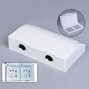 Rinov - Cubierta de enchufe eléctrico 86 tipo blanco, doble protección para enchufes, caja de seguridad infantil, caja impermeable, accesorios de baño: Amazon.es: Bricolaje y herramientas