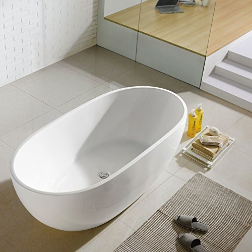 MAYKKE Barnet 61 Inches Modern Oval Light Acrylic Bathtub Easy to Install Freestanding White Soaker Tubs for Bathroom, XDA1407001 price