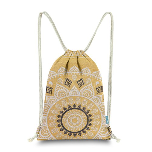 (Miomao Drawstring Backpack Canvas Gym Sackpack, Geometric Mandala Style Gymsack with Zipper Pockets, Unisex Casual Bag Yoga Daypack Outdoor Rucksack, 13