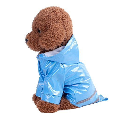 Hot Sale!❤️ZYEE❤️ BIG PROMOTION!Pet Dog Hooded Raincoat Pet Waterproof Puppy Dog Jacket Outdoor Coat (M, Blue)