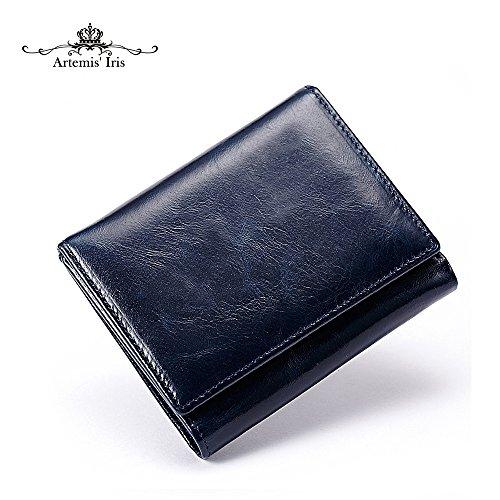 Artemis'Iris Compact Trifold Pocket Wallet Wax Genuine Leather Short Purse, blue