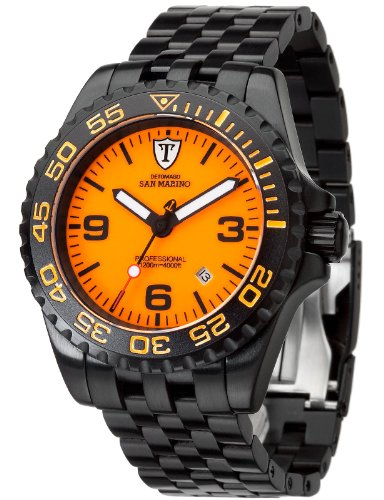 Detomaso San Marino Men's Automatic Watch with Orange Dial Analogue Display and Black Stainless Steel Bracelet DT1007-E